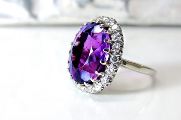 HN Charm With God All Things Are Possible Lady Faux Amethyst Cross Floral Ring