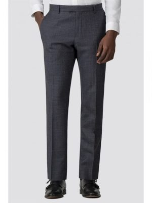 Blue Textured Check Slim Fit Trouser 30r Blue loving the sales