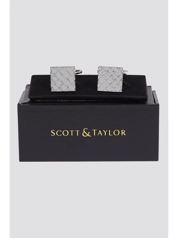 Scott  Taylor Silver Square Design Cufflinks 0 Silver Metal loving the sales