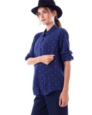 Riley- Blue Arrow Long Sleeve Button Down Nursing And Maternity Blouse loving the sales