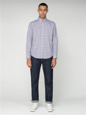 Men's Long Sleeved White Micro Floral Shirt | Ben Sherman - Xs loving the sales