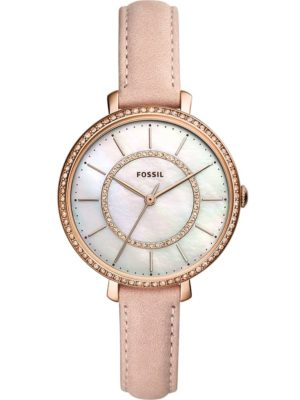 Fossil Ladies Jocelyn Rose Gold Plated Mother Of Pearl Pink Leather Strap Watch Es4455 loving the sales