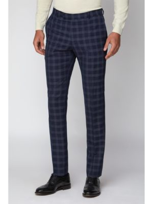 Limehaus Navy Check Slim Fit Trouser 36r Navy loving the sales