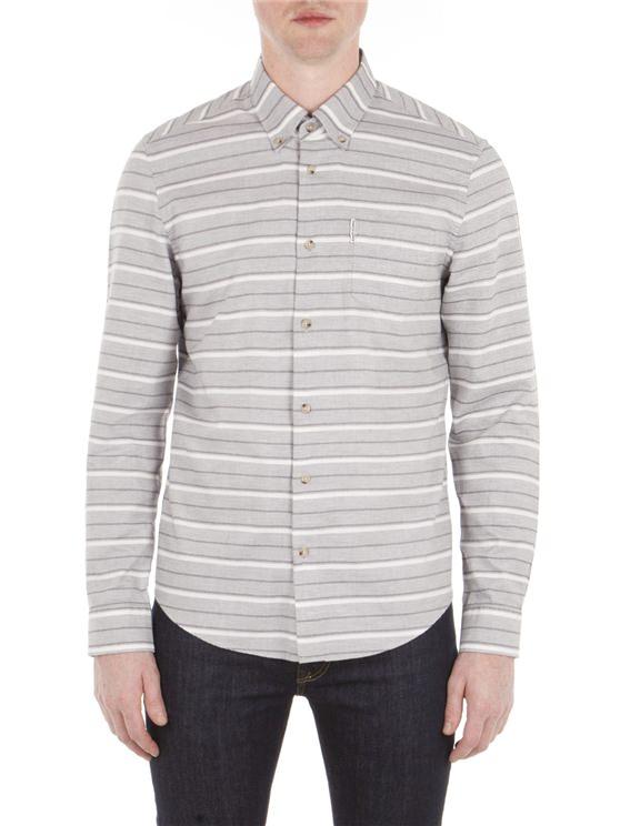 Grey Long Sleeve Tipping Horz Stripe Marl Shirt Em8 Light Ash Marl | Ben Sherman - Xs loving the sales