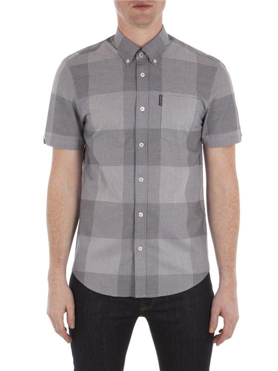 Grey Short Sleeve Textured Micro Gingham Shirt B51 Navy Blazer | Ben Sherman - Xs loving the sales