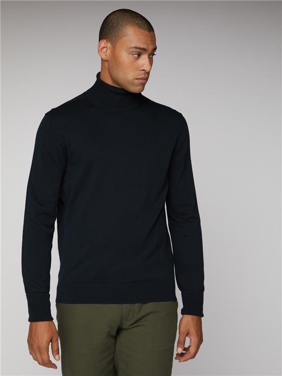 Men's Black Cotton Roll Neck Jumper | Suit Direct | Est 1963 loving the sales
