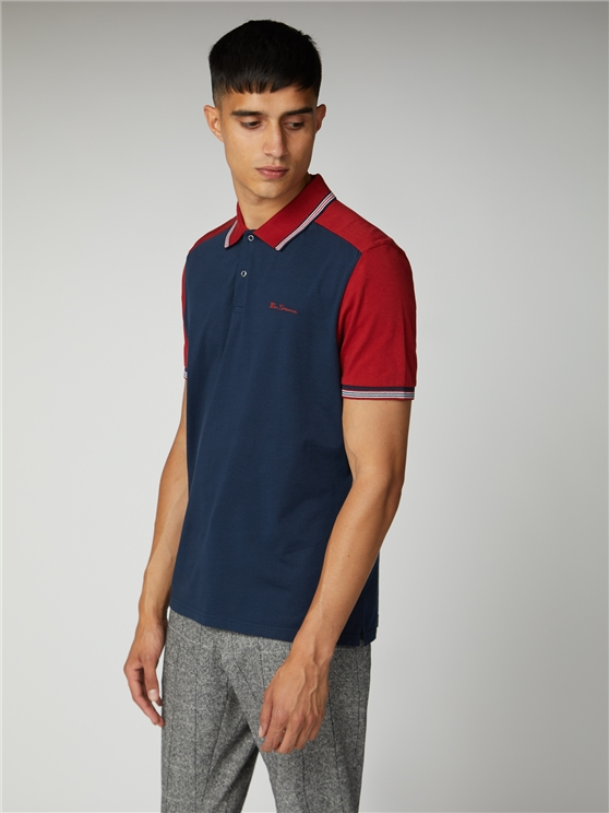 Red & Navy Cut And Sew Block Polo Shirt | Ben Sherman | Est 1963 - Small loving the sales