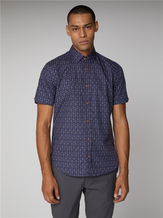 Short Sleeve Paisley Print Shirt Dark Blue   Ben Sherman - Xs loving the sales