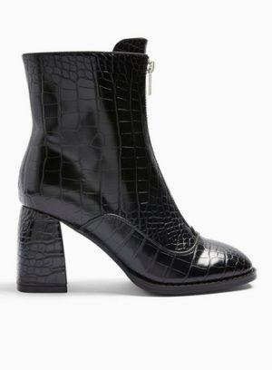 Womens Brit Black Zip Front Boots