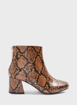 Womens Wide Fit Brixton Brown Snake Print Ankle Boots