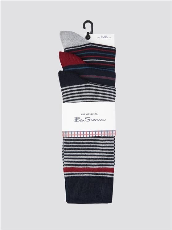 Ben Sherman 3 Pack Of Stripe Socks Navy | Ben Sherman - 7-11 loving the sales