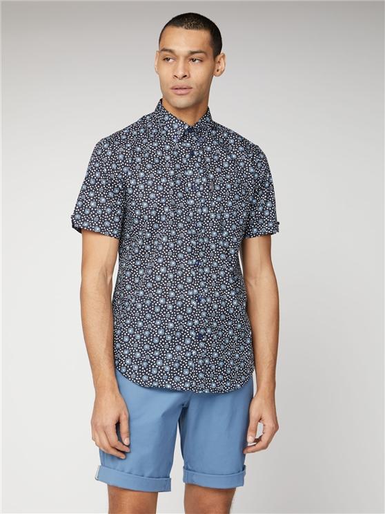 Ben Sherman | Navy Tonal Floral Print Shirt | Suitdirect.Co.Uk loving the sales