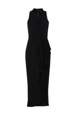 Black Halter Neck Drape Maxi Dress