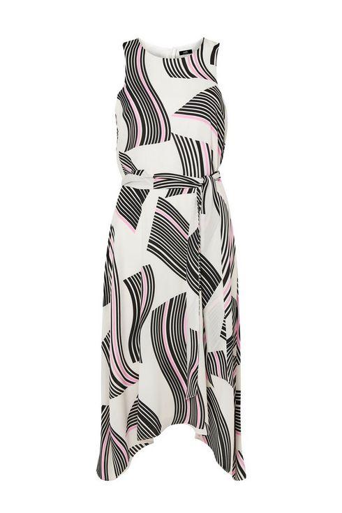 Cream Graphic Swirl Midi Dress