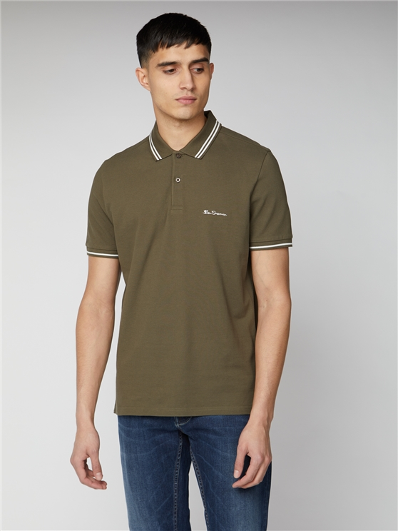 Khaki Green Romford Tipped Polo Shirt | Ben Sherman | Est 1963 - Small loving the sales