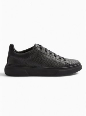 Mens Black Chunky Drone Emboss Trainers