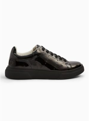 Mens Black Patent Chunky Trainers
