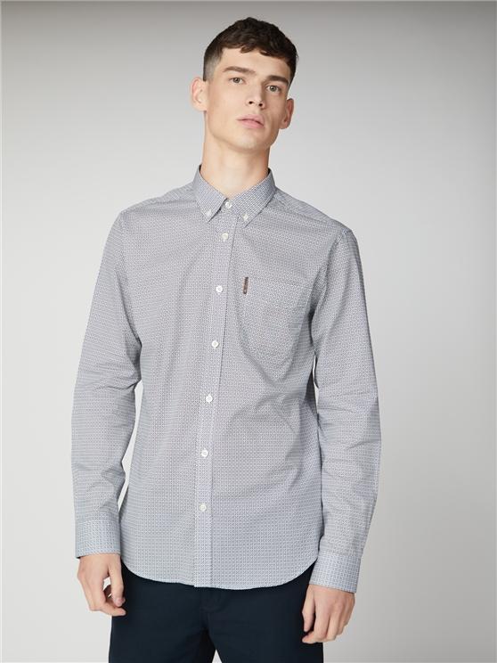 Mens Navy Geo Long Sleeved Oxford Shirt | Ben Sherman | Est 1963 - Small loving the sales