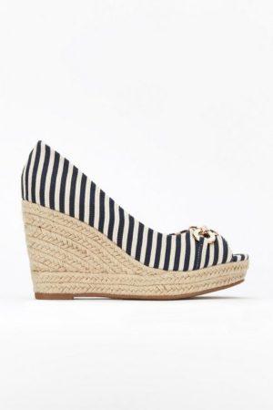 Navy Stripe Buckle Wedge Heel Shoe