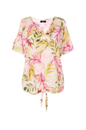 Pink Tropical Tie Front Cold Shoulder Top