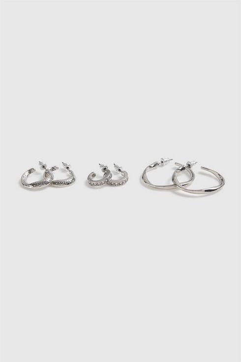 Silver Rhinestone Earring Pack