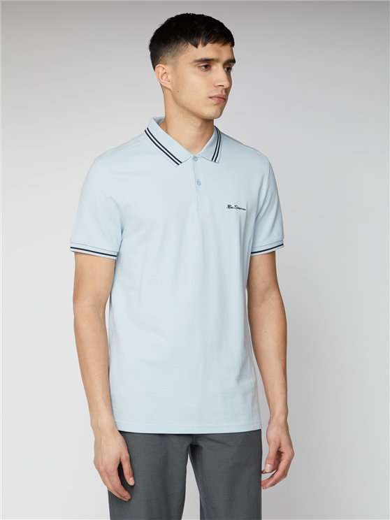 Sky Blue Romford Tipped Polo Shirt | Ben Sherman | Est 1963 - Small loving the sales