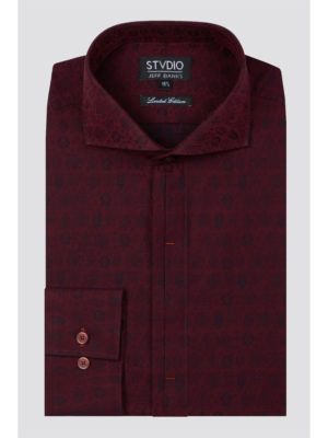 Stvdio Burgundy Tree Jacquard Shirt 16 Burgundy loving the sales