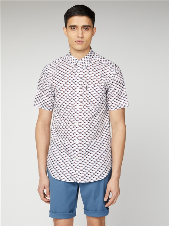 White Short Sleeve Flag Print Shirt | Ben Sherman | Est 1963 - Small loving the sales