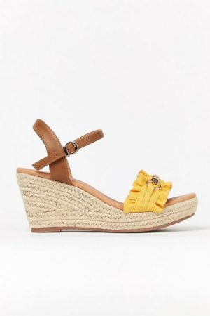 **Wide Fit Yellow Ruffle Wedge Sandal