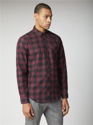 Wine Flannel Checked Long Sleeve Shirt | Ben Sherman | Est 1963 - Xl loving the sales