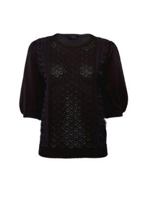 Womens Black Lace Front T-Shirt