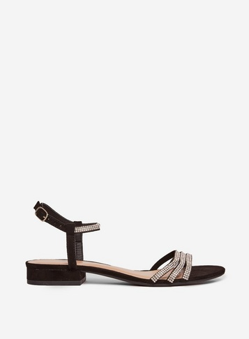 Womens Black 'soo' Heeled Sandals