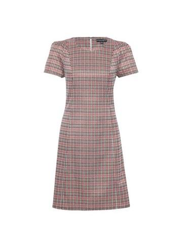 Womens Burgundy Tweed Check Print Shift Dress - Red