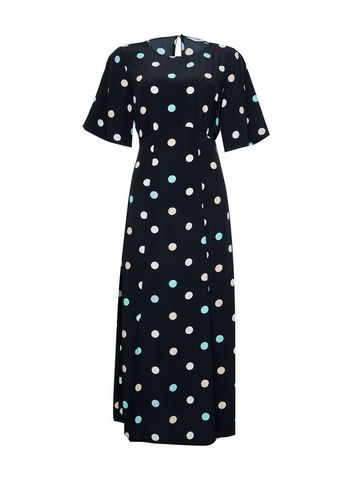 Womens Dp Tall Blue Spot Print Midi Dress