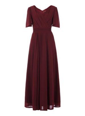Womens Jolie Moi Burgundy Flute Sleeve Maxi Dress