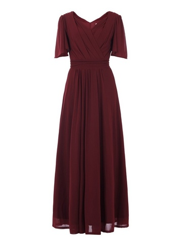 Womens Jolie Moi Burgundy Flute Sleeve Maxi Dress