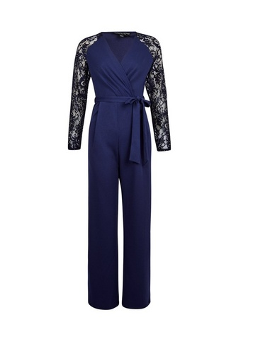 Womens Navy Lace Sleeve Jumpsuit - Blue
