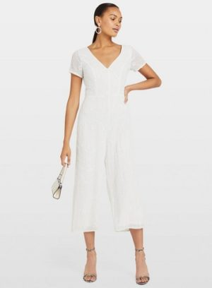 Womens White Embellished Culotte Jumpsuit