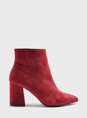 Womens Wide Fit Abit Burgundy Pointed Ankle Boots