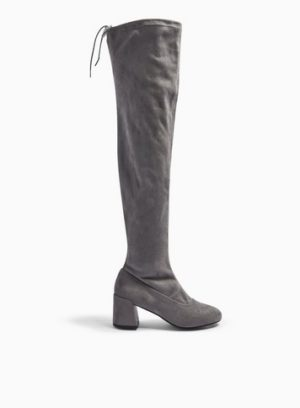 Womens Wide Fit Oslo Grey Over The Knee Boots