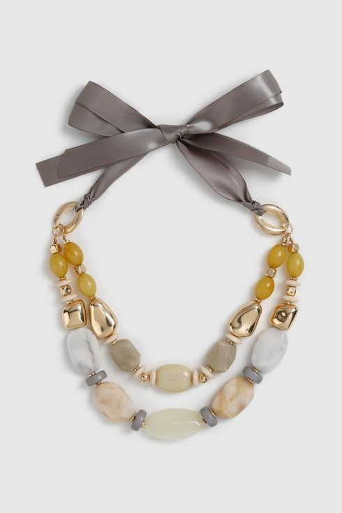 Yellow Marble Bead Tie Necklace