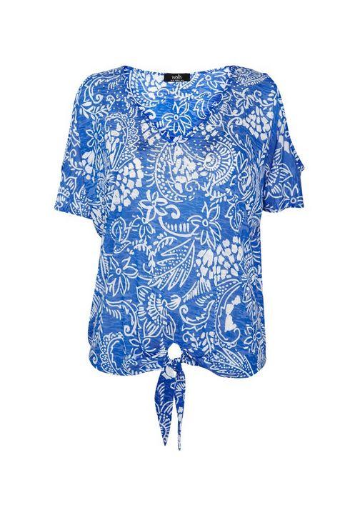 Blue Paisley Sparkle Tie Front Top