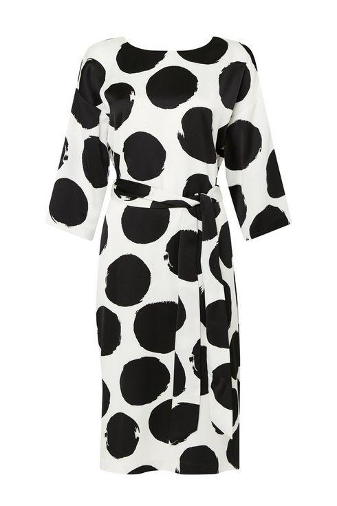Cream Abstract Polka Dot Shift Dress