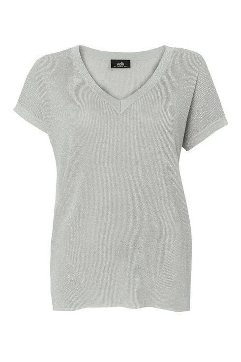 Grey Shimmer V-Neck Knitted Top