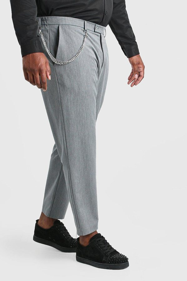 Mens Grey Plus Size Skinny Cropped Trouser With Chain loving the sales