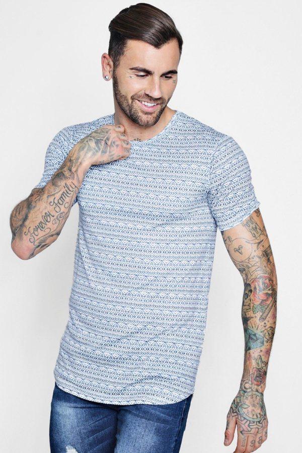Mens Navy Muscle Fit Sublimation Print Curve Hem T-Shirt loving the sales