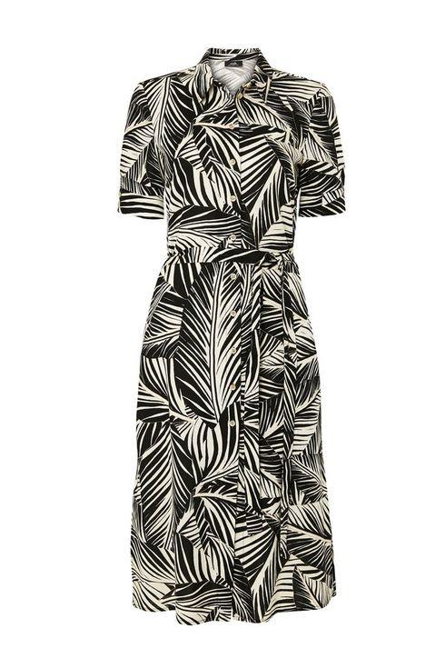 Monochrome Palm Print Linen Shirt Dress
