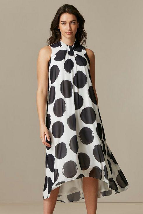 Monochrome Polka Dot Overlay Dress
