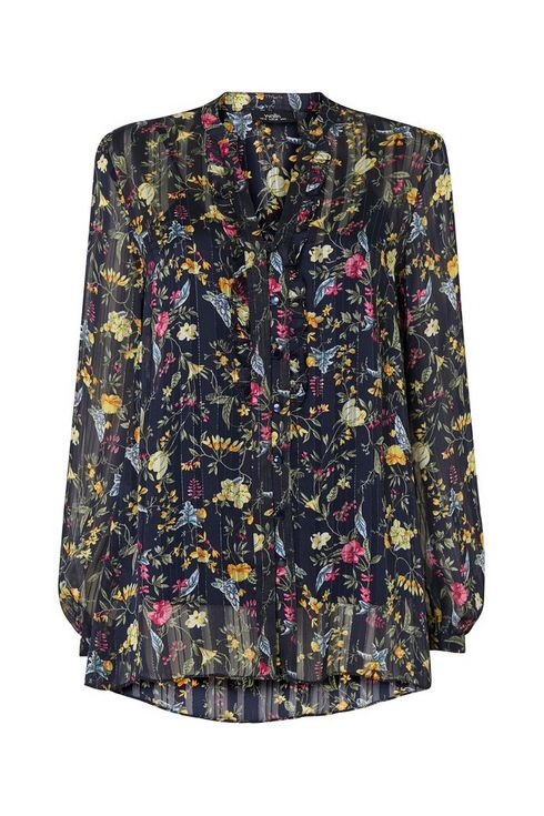 Navy Floral Print Ruffle Top