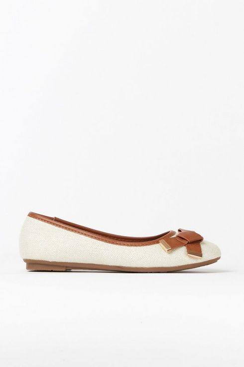 Nude Bow Trim Ballerina Shoe